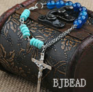 Assorted Blue Agate and Turquoise Bracelet with Metal Chain and Cross Pendant