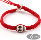 Fashion Style Howlite Skull Weaved Halloween Bracelet with Red Thread