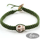 6 Pieces Fashion Style Howlite Skull Woven Halloween Bracelet with Dark Green Thread
