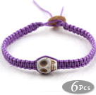 6 Pieces Fashion Style Howlite Skull Woven Halloween Bracelet with Purple Thread