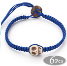 6 Pieces Fashion Style Howlite Skull Woven Halloween Bracelet with Dark Blue Thread