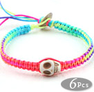 Fashion Style Howlite Skull Weaved Halloween Bracelet with Multi Color Thread