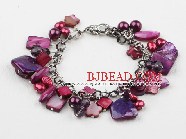 Purple Red Series Purple Red Freshwater Pearl Shell and Crystal Bracelet with Metal Chain