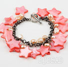 Pink Series Pink Freshwater Pearl Shell and Crystal Bracelet with Metal Chain