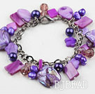 Purple Series Purple Freshwater Pearl Shell and Crystal Bracelet with Metal Chain under $ 40
