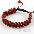 Fashion Style Two Rows 6mm Round Carnelian Beaded Woven Drawstring Bracelet