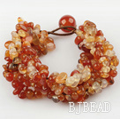 Wide Style Natural Color Agate Fillet Chips Woven Bracelet