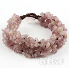 Wide Style Strawberry Quartz Fillet Chips Weaved Bracelet