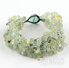 Green Series Wide Style Green Rutilated Quartz Fillet Chips Weaved Bracelet