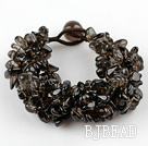 Wide Style Somky Quartz Fillet Chips Weaved Bracelet