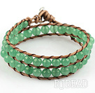 6mm Round Aventurine Wrap Bangle Bracelet with Leather Cord with Metal Clasp