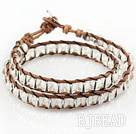 6mm Round Clear Crystal Wrap Bangle Bracelet with Leather Cord with Metal Clasp