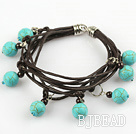 Lovely Style Multi Strands Rond Burst-patroon turquoise en Garnet Leather Bracelet