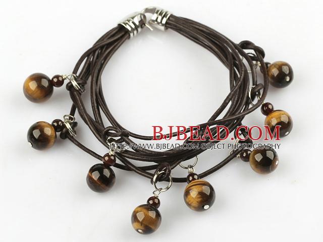 Lovely Style Multi Strands Round Tiger Eye and Garnet Leather Bracelet