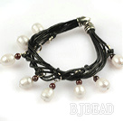 Lovely Style Multi Strands White Freshwater Pearl and Garnet Leather Bracelet