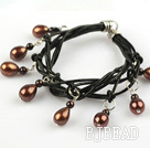 Lovely Style Multi Strands Brown Freshwater Pearl and Garnet Leather Bracelet