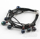Lovely Style Multi Strands Black Freshwater Pearl and Garnet Leather Bracelet