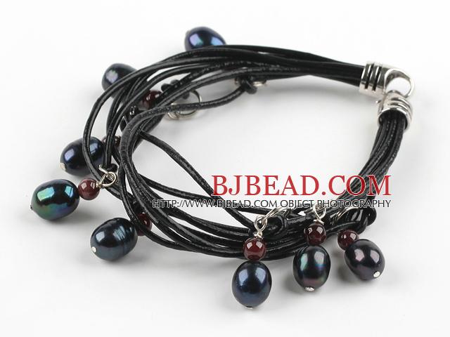 Lovely Style Multi Strands Black Freshwater Pearl and Garnet Leather Bracelet