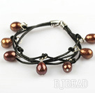 Lovely Style Multi Strands Brown Freshwater Pearl Leather Bracelet