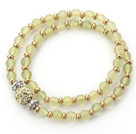 Double Rows Light Green Olivine Stone and Golden Color Beads Stretch Bangle Bracelet with Green Rhinestone Ball