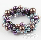 Assorted Multi Color Round Shell Beads Stretch Bangle Bracelet