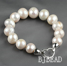 12-14mm Round Natural White Freshwater Pearl Beaded Bracelet