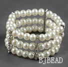 Three Rows 8mm Round White Shell Beads Stretch Bangle Bracelet