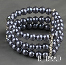 Three Rows 8mm Round Dark Gray Shell Beads Stretch Bangle Bracelet