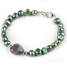 Peacock Freshwater Pearl and Fluorite Bracelet with Lobster Clasp