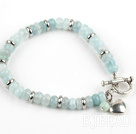 Abacus Shape Faceted Aquamarine Bracelet with Toggle Clasp