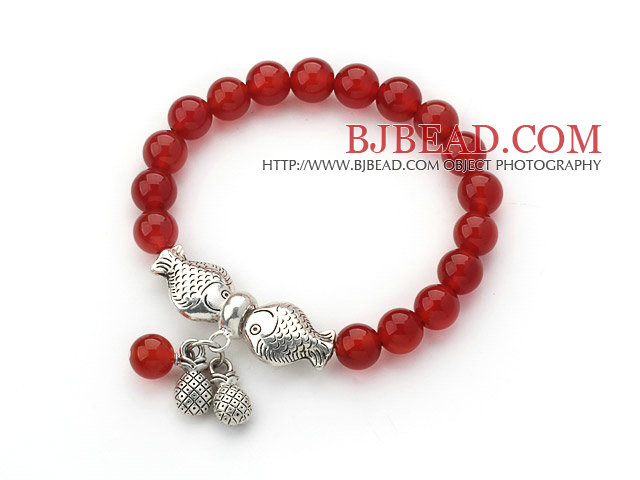 8mm Round Red Carnelian Stretch Bangle Bracelet with Thailand Silver Fish Accessories