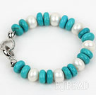 Classic Design Abacus Shape White Freshwater Pearl and Turquoise Bracelet
