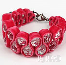 Fashion Style Clear Crystal and Rose Pink Velvet Ribbon Woven Bold Bracelet with Extendable Chain