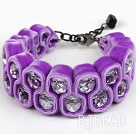 Fashion Style Clear Crystal and Purple Velvet Ribbon Woven Bold Bracelet with Extendable Chain