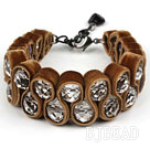 Fashion Style Clear Crystal and Coffee Color Velvet Ribbon Woven Bold Bracelet with Extendable Chain