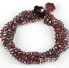 Multi Strands Faceted Purple Red with Colorful Crystal Bracelet