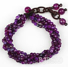 Multi Strands 4mm Faceted Purple Agate Beaded Bracelet