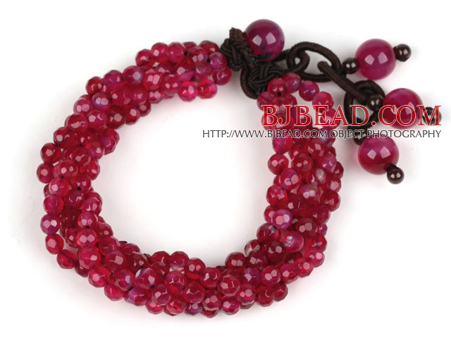 Multi Strands 4mm Faceted Rose Pink Agate Beaded Bracelet