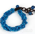 Multi Strands 4mm Faceted Blue Agate Beaded Bracelet