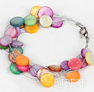 Multi Strand Assorted Multi Color Shell Bracelet with Silver Color Wire