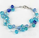 Multi Strand Faceted Blue Crystal Bracelet with Silver Color Wire