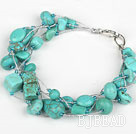 Multi Strand Assorted Turquoise Bracelet with Silver Color Wire