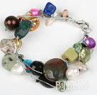 Multi Strand Assorted Multi Color Stone and Pearl Bracelet with Silver Color Wire