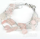 Multi Strand Pink Series Rose Quartz and Clear Crystal Bracelet with Silver Color Wire