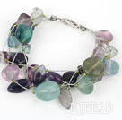 Multi Strand Rainbow Fluorite Bracelet with Silver Color Wire