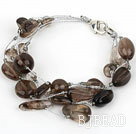 Multi Strand Smoky Quartz Bracelet with Silver Color Wire