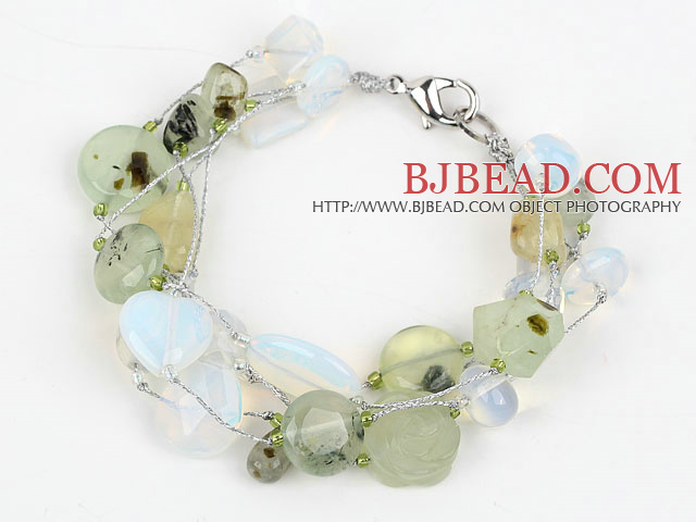 Multi Strand Prehnite and Opal Bracelet with Silver Color Wire