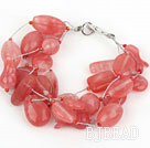 Multi Strand Cherry Quartz Bracelet with Silver Color Wire