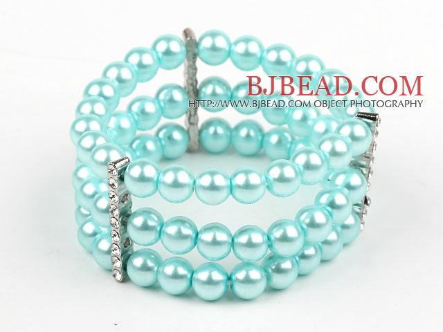 Multi Strands Lake Blue Shell Beads Stretch Bangle Bracelet with Rhinestone