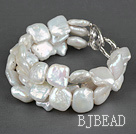 Three Strands White Square Shape Rebirth Pearl Bracelet